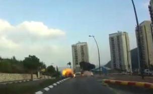 תיעוד הפיצוץ ברכב בנשר