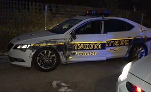 ניידת התנועה שפגעה ברכב ליד נווה אילן (צילום: החדשות 12)