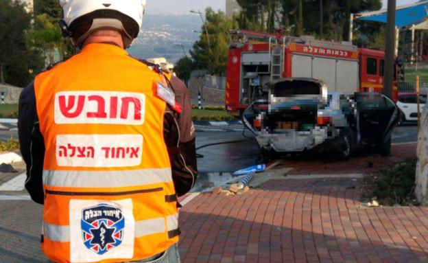פיצוץ רכב בנשר (צילום: איחוד הצלה)