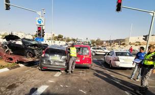 התאונה הקטלנית בראש השנה בדרך בגין ירושלים (צילום: דוברות המשטרה)