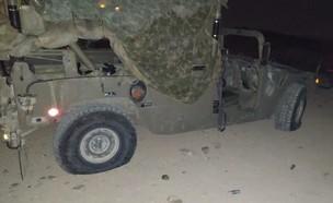 הרכב הצבאי שהותקף ביצהר  (צילום: החדשות 12)