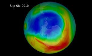 החור באוזון כפי שנצפה בספטמבר האחרון (צילום: NASA)