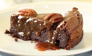 עוגת שוקולד, קרמל ופקאן - פרוסה (צילום: חן שוקרון, אוכל טוב)