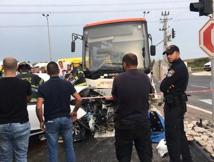 זירת התאונה בצומת אעבלין שבצפון הארץ (צילום: באדיבות אדם מידקס)