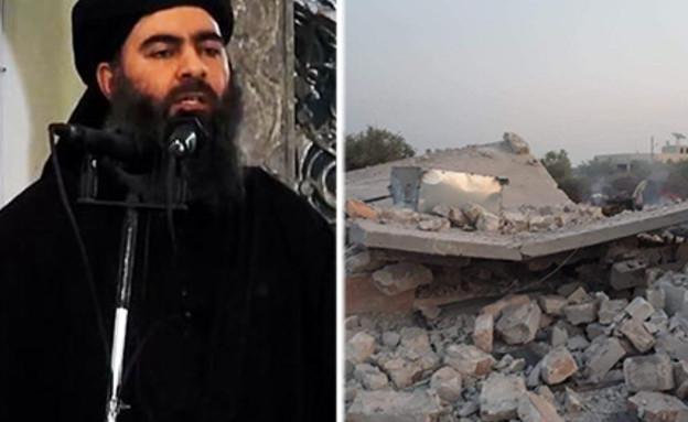 """זירת התקיפה במבצע לחיסול מנהיג דאע""""ש אבו באכר אל ב (עיבוד: אימג'בנק / Gettyimages, הטלוויזיה העירקית, getty images)"""