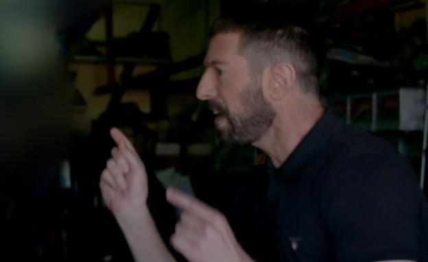 """חיים אתגר מתעמת עם בעלי מוסך בחיפה (צילום: מתוך """"יצאת צדיק"""", קשת 12)"""