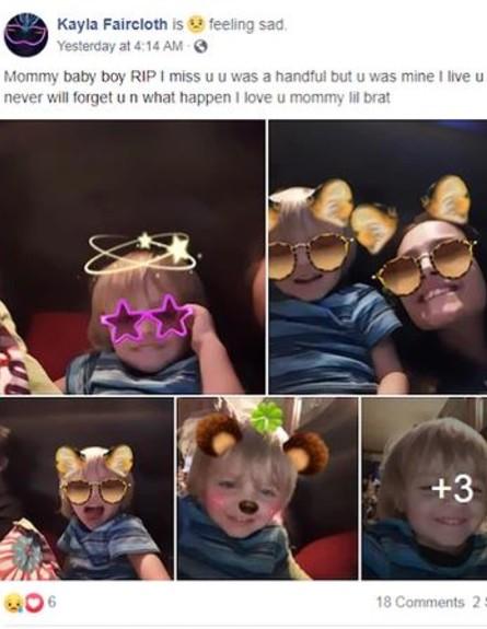 הפוסט שהעלתה האם לאחר המקרה הנורא (צילום: מתוך עמוד הפייסבוק של Kayla Faircloth)