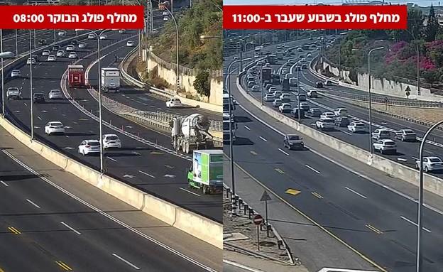 כביש החוף (צילום: מצלמות התנועה של נתיבי ישראל)
