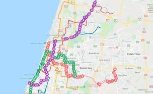 מפת התחבורה הציבורית בשבת בגוש דן