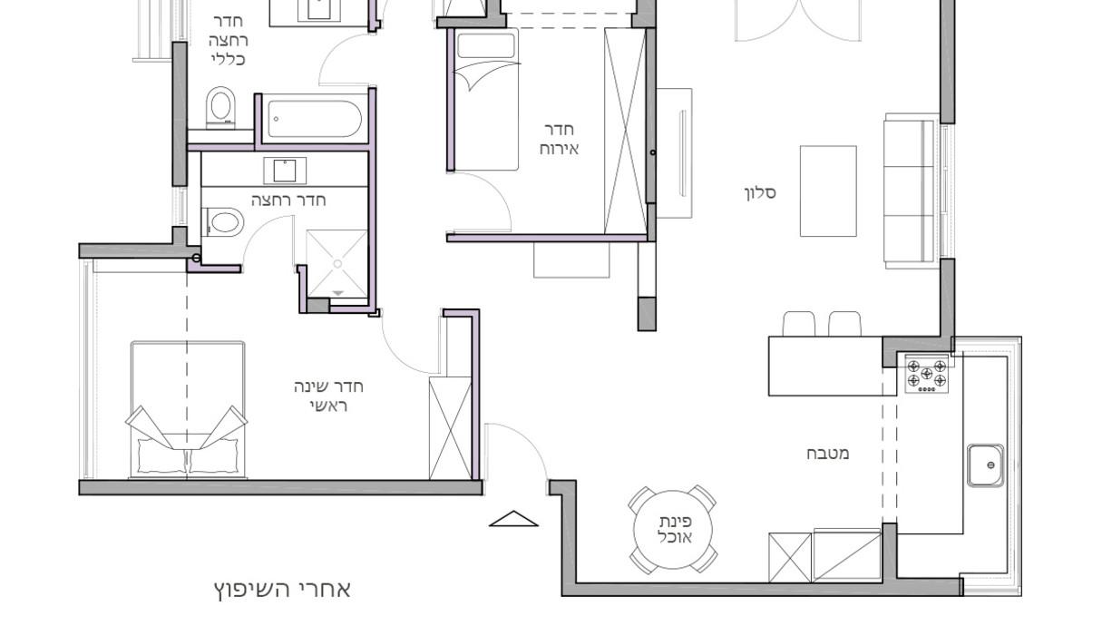 בתים מבפנים חיפה, עיצוב דנה ברוזה, תוכנית אדריכלית אחרי שיפוץ - 3
