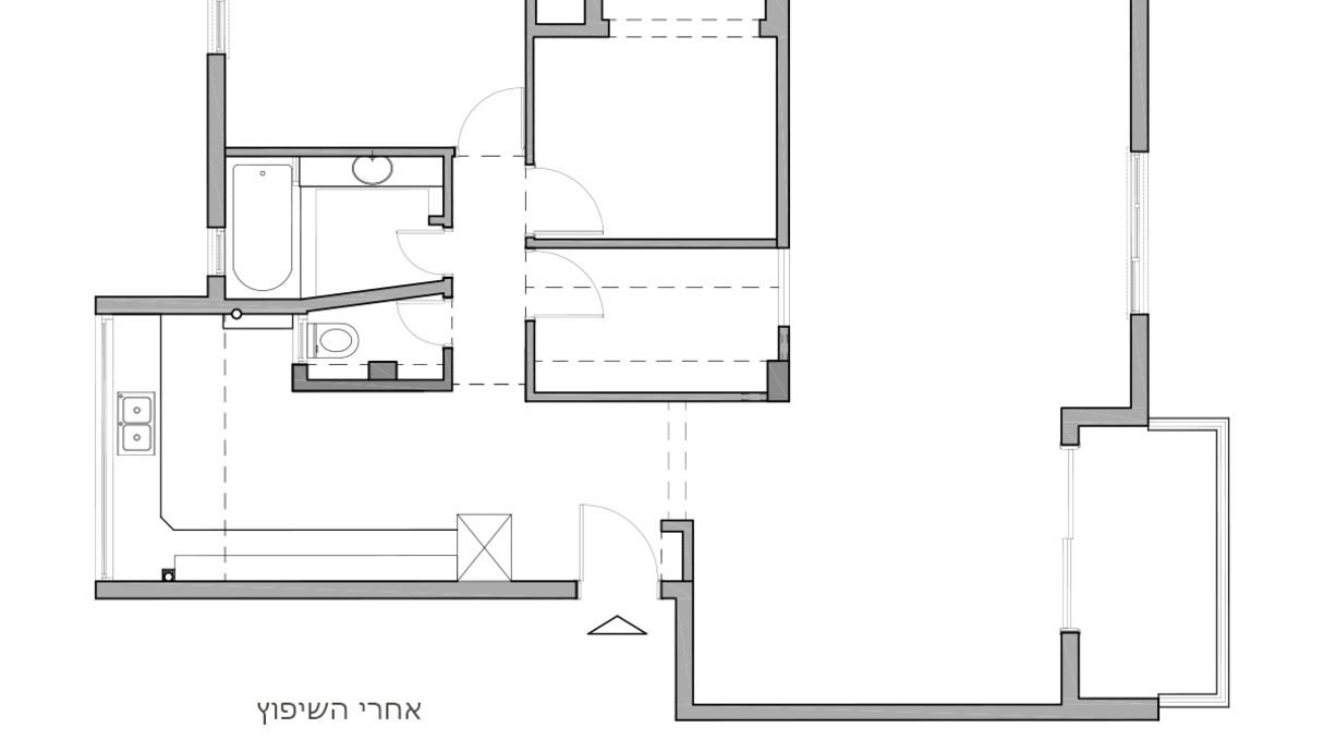 בתים מבפנים חיפה, עיצוב דנה ברוזה, תוכנית אדריכלית לפני שיפוץ -3
