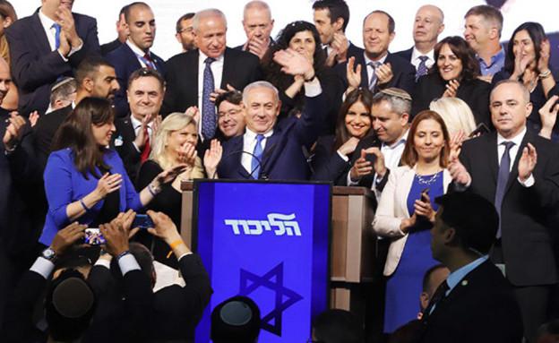 נאום הניצחון של בנימין נתניהו (צילום: איתן אלחדז/TPS, חדשות)