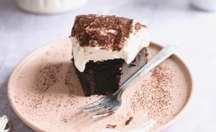 ביס בעוגת שוקולד פאדג' עם קרם ריקוטה (צילום: קרן אגם, אוכל טוב)