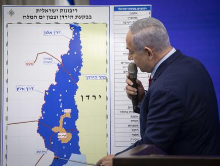 בנימין נתניהו מציג את מפת סיפוח בקעת הירדן