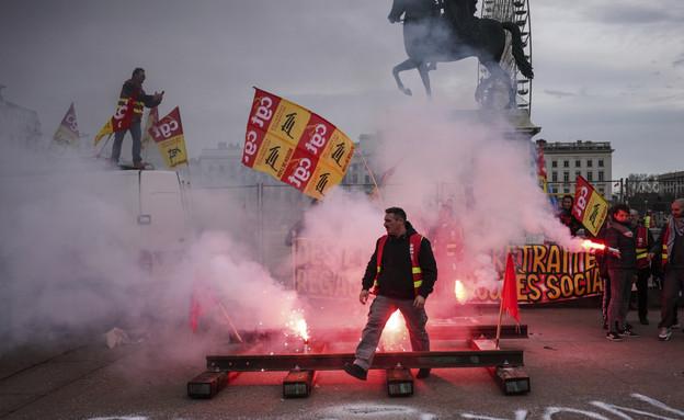 המחאה בצרפת (צילום: ap)