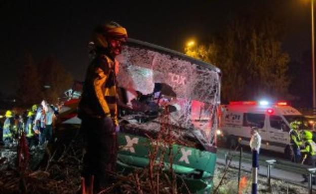 """תאונת האוטובוס ליד נתב""""ג  (צילום: אביב הרץ, TPS)"""