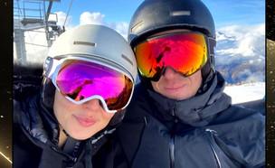 """חופשת הסקי המשפחתית של גל גדות (צילום: מתוך """"ערב טוב עם גיא פינס"""", קשת 12)"""