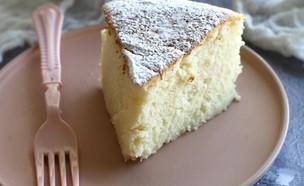 פרוסת עוגת גבינה יפנית (צילום: קרן אגם, אוכל טוב)