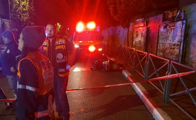 זירת התאונה בירושלים (צילום: תיעוד מבצעי מד