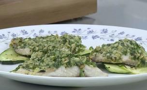 פילה דג לברק בקראסט גבינות (וידאו AVI: מבשלים עם קשת)