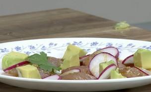 סשימי בס עם ויניגרט ווסאבי (וידאו AVI: מבשלים עם קשת - רותי רוסו)