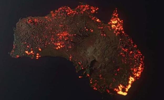 תמונת יבשת אוסטרליה שהופצה (צילום: Anthony Hearsey)