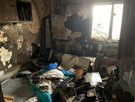 זירת השרפה בבית מגורים בנהריה