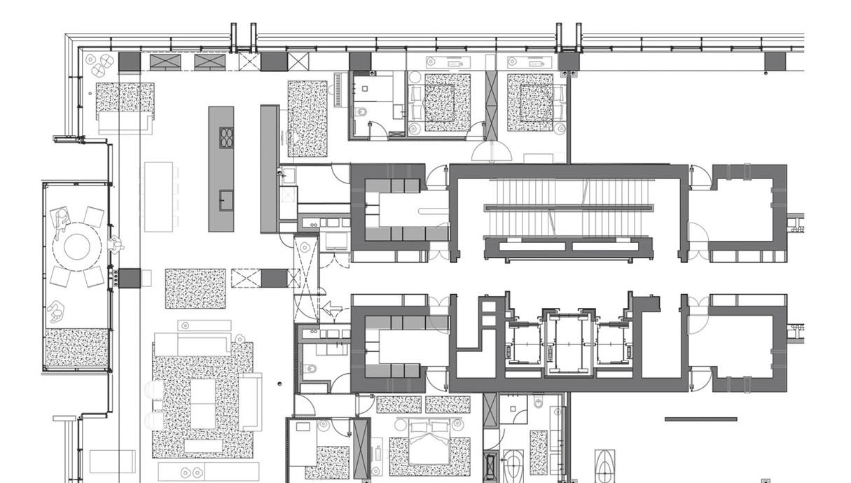 דירה בתל אביב, עיצוב הילה חבקין, תוכנית אדריכלית