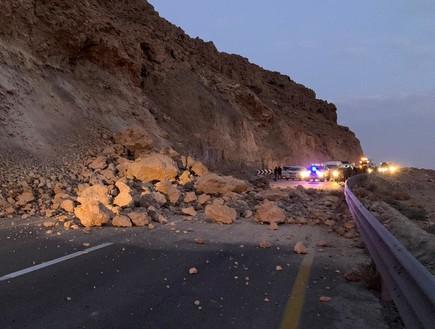 מפולת סלעים בכביש לים המלח