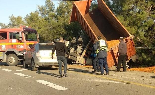 תאונה בצומת גבולות (צילום: נדב כנעני, TPS)