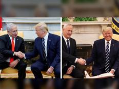 בני גנץ ובנימין נתניהו בפגישות עם טראמפ (עיבוד: רויטרס)