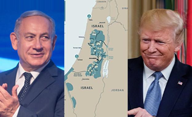 בנימין נתניהו, דונלד טראמפ והמפה המציגה את תוכנית  (עיבוד: פלאש 90, רויטרס)