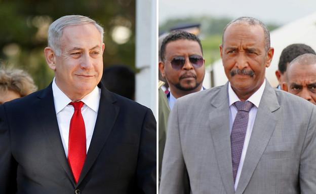 בנימין נתניהו ונשיא סודן, עבדאל פתח אל בורהן (עיבוד: רויטרס)