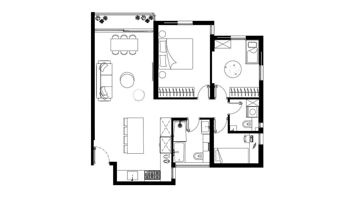 דירה בבבלי, עיצוב יעל פרי, תוכנית אדריכלית