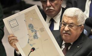 אבו מאזן במהלך נאומו באום (צילום: AP)