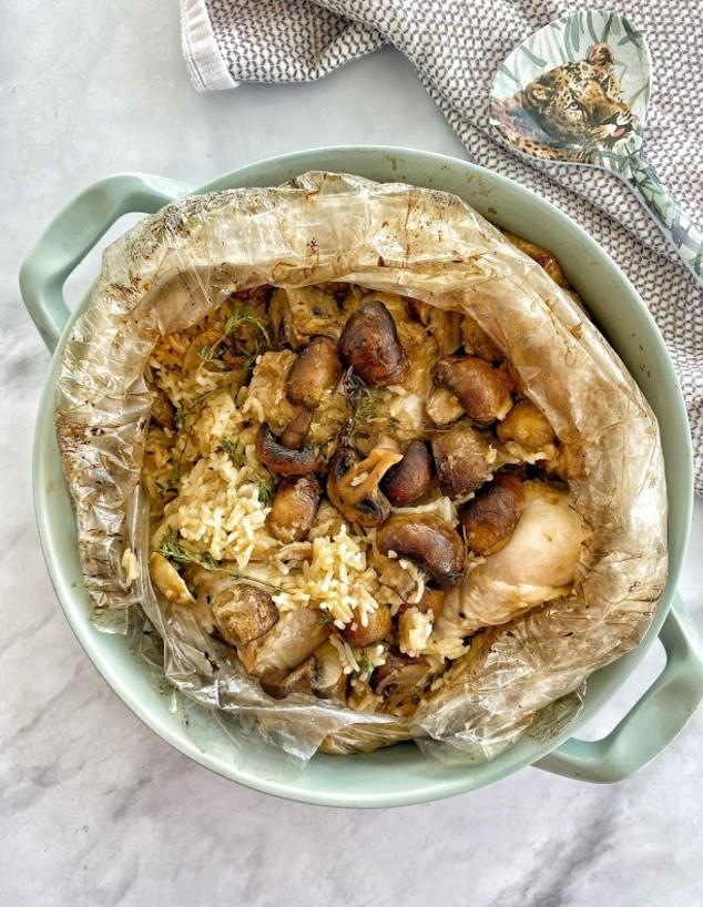 עוף עם אורז ופטריות