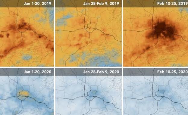 זיהום האוויר בסין היום ולפני שנה
