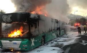 אוטבוס נשרף בירושלים (צילום: דוברות כבאות והצלה)