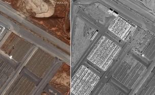 תמונות לוויין קברים המוניים באיראן (צילום: Maxar Technologies)