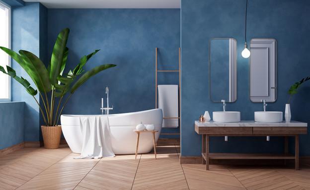 חדר רחצה כחול