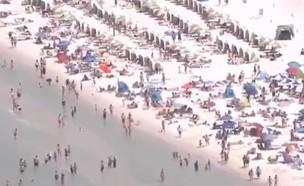 החופים מלאים, למרות הקורונה (צילום: WFLA NEWS, twitter)
