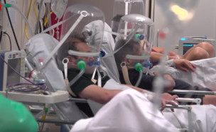 תיעוד מבתי החולים באיטליה (צילום: SKY NEWS)