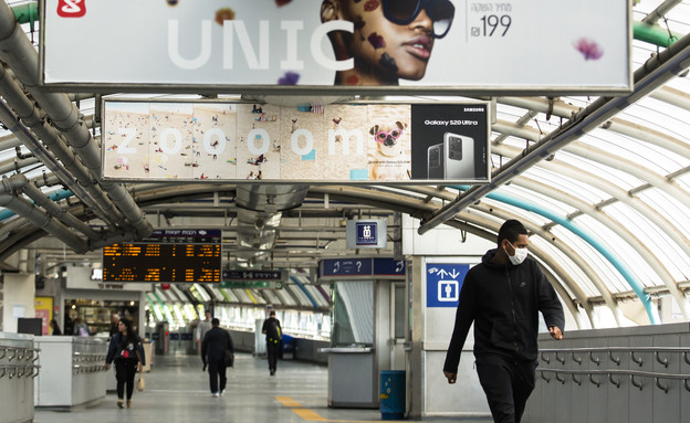 קורונה בישראל - תחנת רכבת מרכז (צילום: Amir Levy, getty images)
