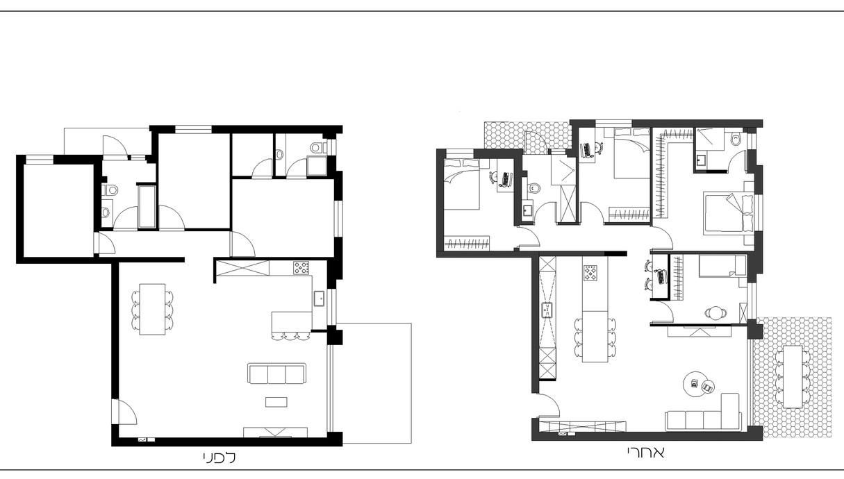 דירה בכפר סבא, עיצוב שרית זיו אלון, תוכנית אדריכלית