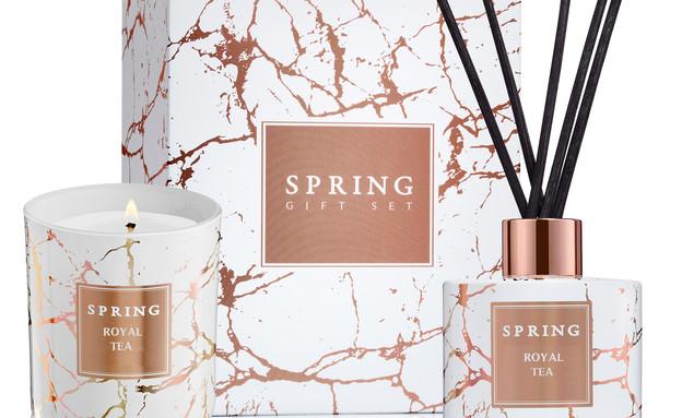 מבצעים מרץ 2020, מארז מפיץ ריח ונר במראה שיש, 169 שקל, spring