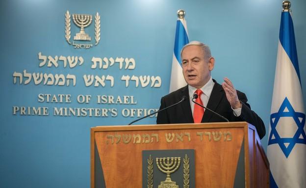 נתניהו במסיבת עיתונאים (צילום: Yonatan Sindel/Flash90)