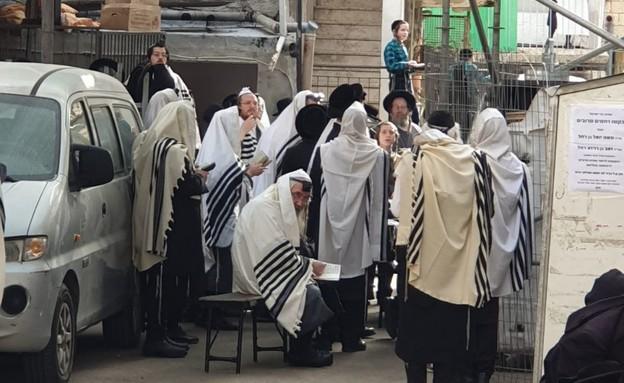 מתפללים במאה שערים  (צילום: מחאות החרדים הקיצוניים)