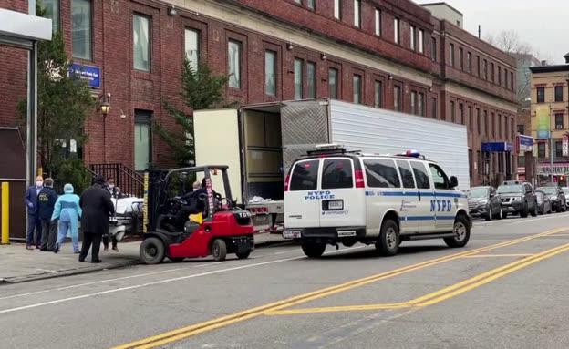 הובלת גופות מתים מקורונה בברוקלין  (צילום: חדשות)