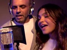 אלין גולן מקליטה שיר עם אבא אייל (צילום: מתוך