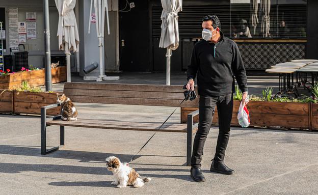 אדם במסיכה מטייל עם הכלב בתל אביב (צילום: Nikolay Litvak, shutterstock)